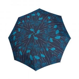Granatowy parasol damski marki Doppler w niebieskie kwiaty