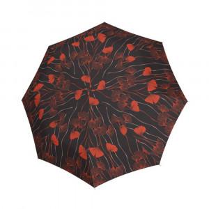 Czarny parasol damski marki Doppler w czerwone kwiaty
