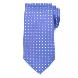 Błękitny jedwabny krawat w jasne kwadratowe wzory