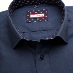 Klasyczna granatowa koszula z kontrastami