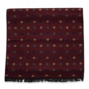 Bordowy szal w kolorowe grochy