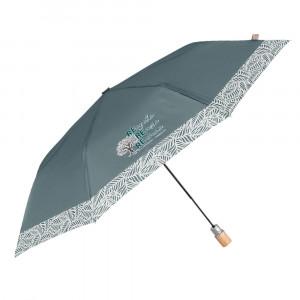 Zielony parasol Perletti z wzorzystą obwódką
