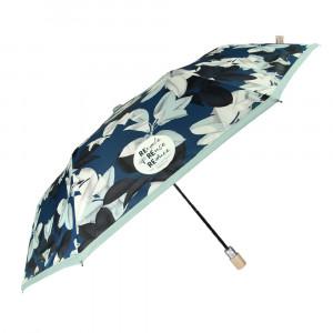Granatowy parasol Perletti w czarne i białe liście