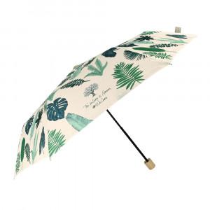 Beżowy parasol Perletti w zielone liście