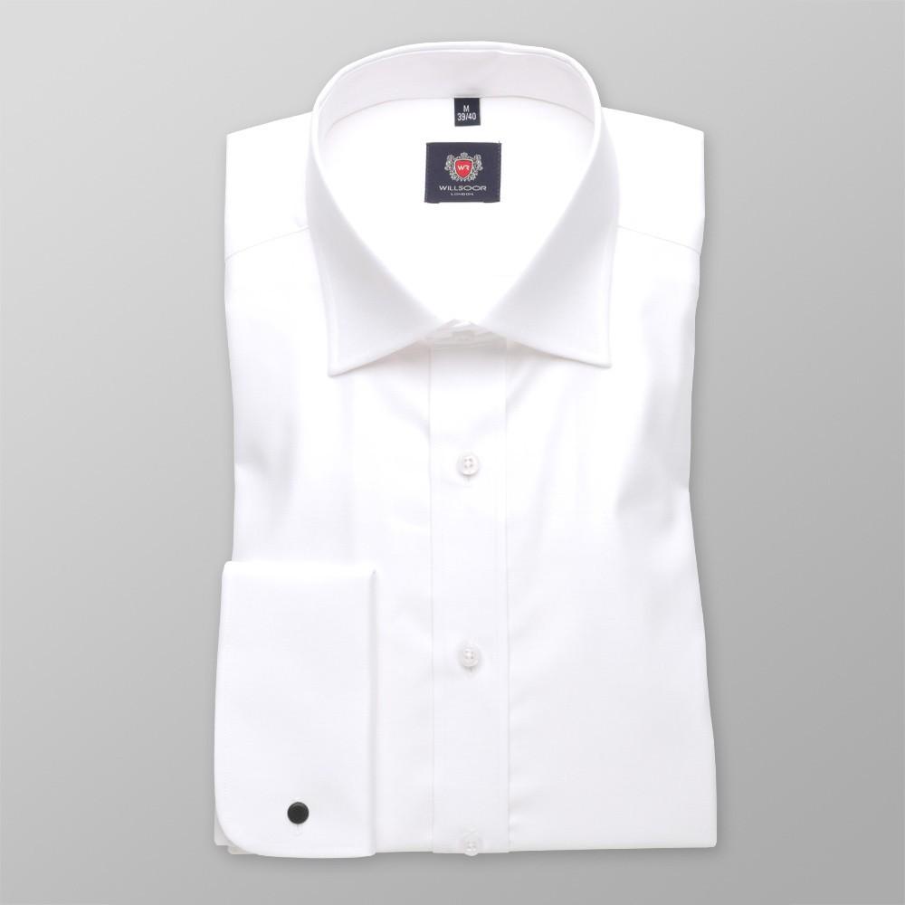 Biała taliowana koszula na spinki