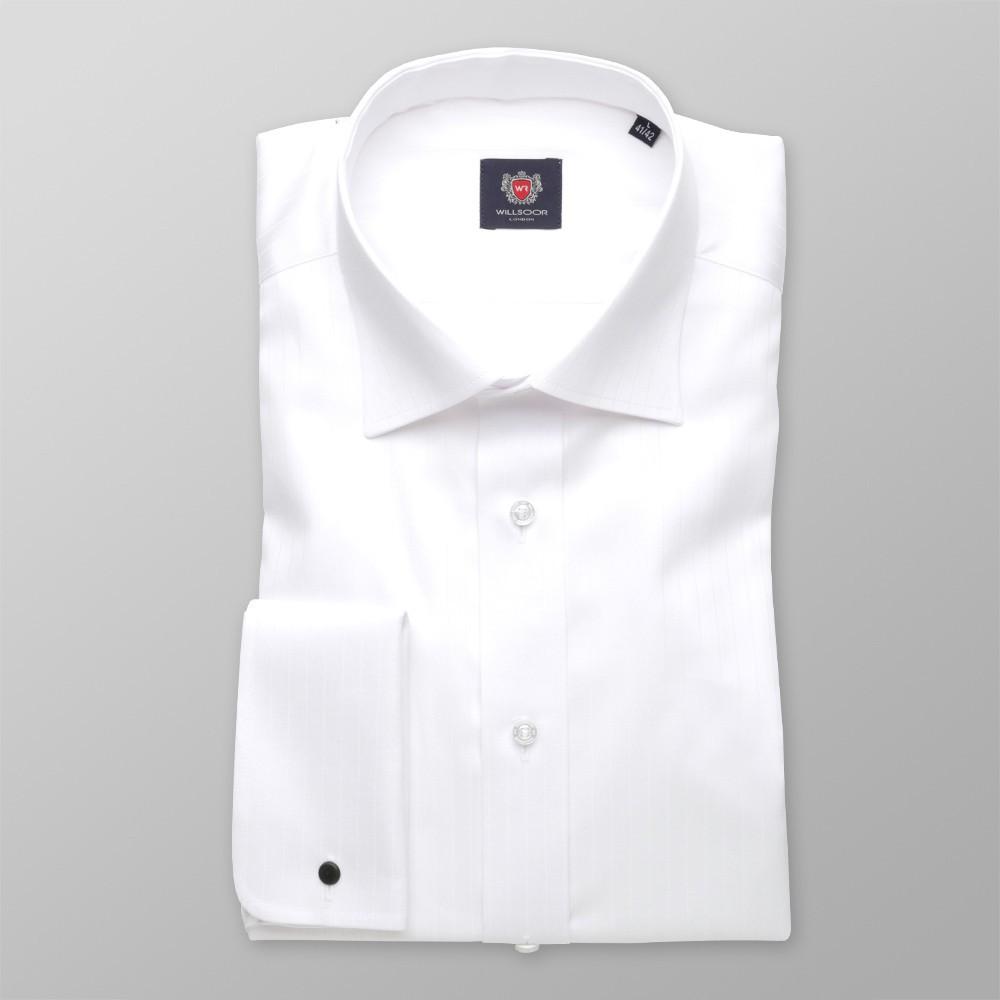 Biała taliowana koszula w prążki na spinki