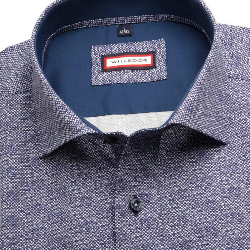 Granatowa taliowana koszula w mikrowzór