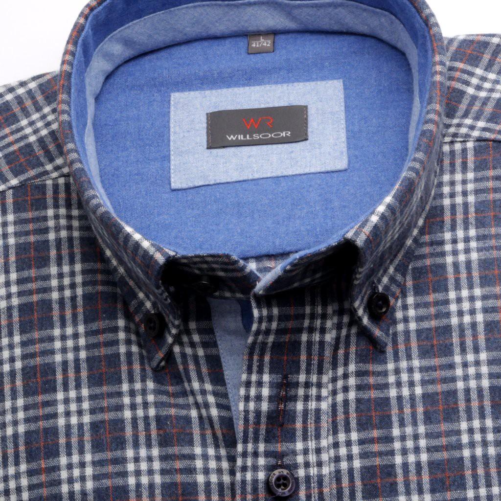 Klasyczna granatowa koszula w kratę