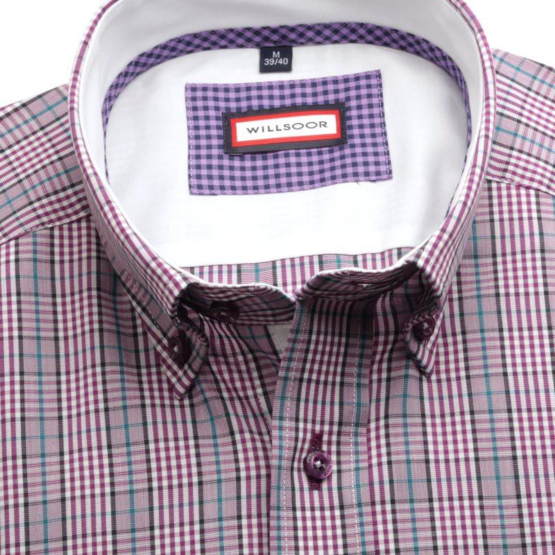 Fioletowa taliowana koszula w kratkę