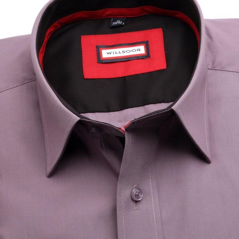 Wrzosowa klasyczna koszula z kontrastami