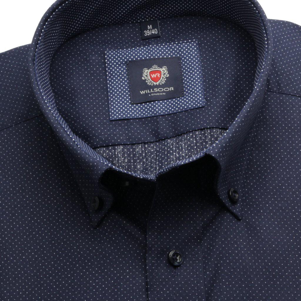 Klasyczna granatowa koszula w kropki