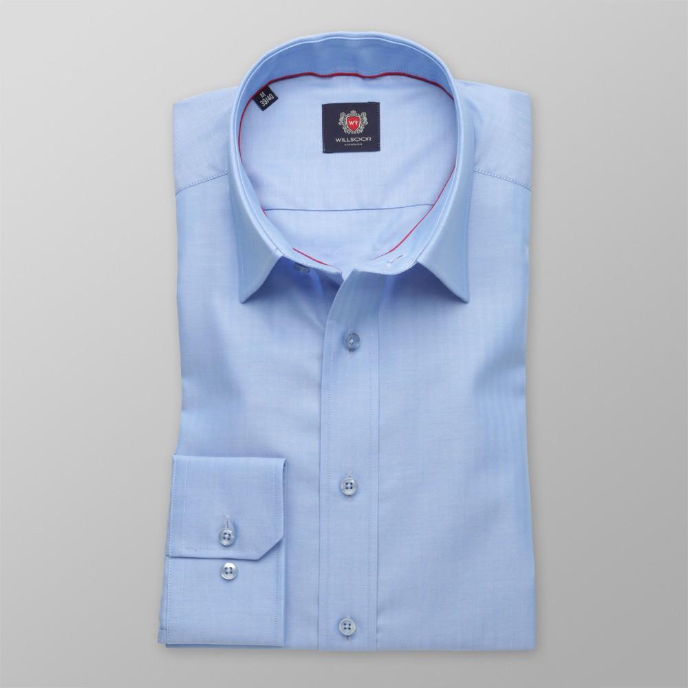Niebieska taliowana koszula w jodełkę  PnGda