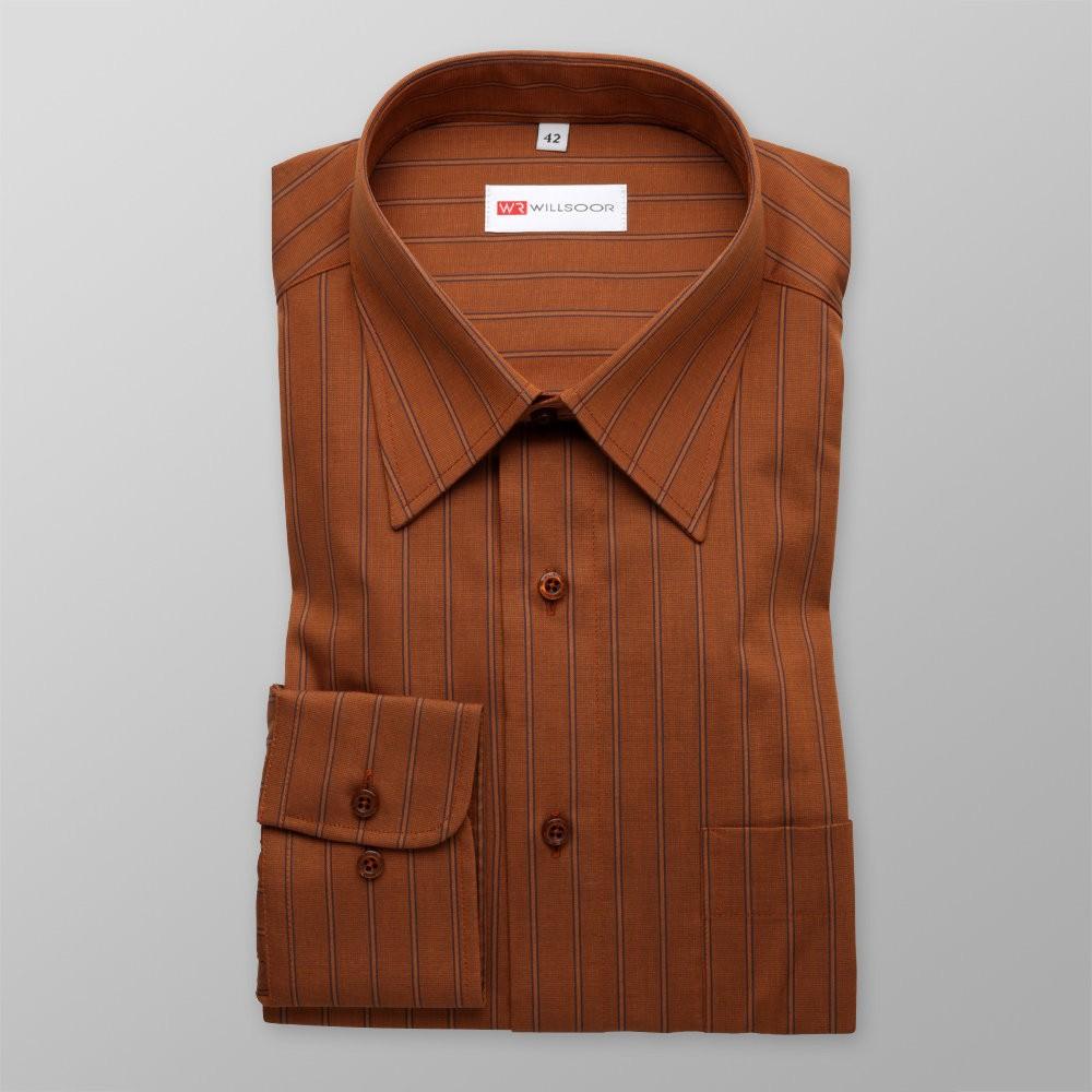 Klasyczna brązowa koszula w paski