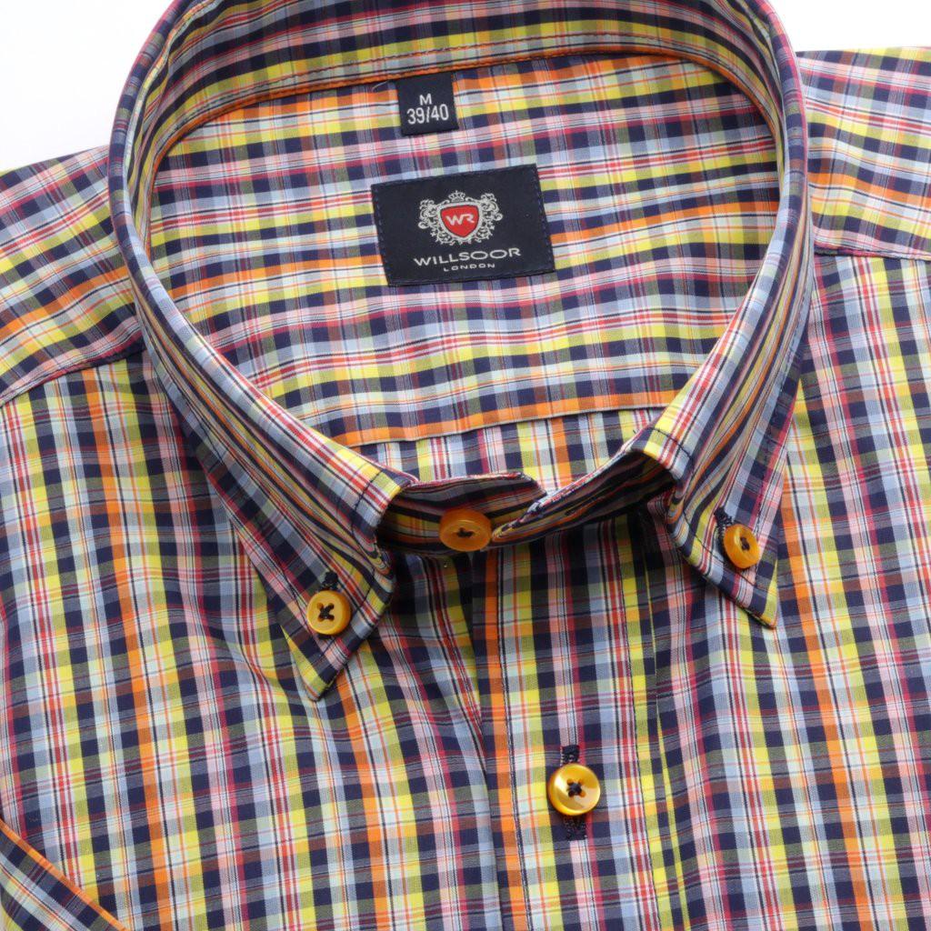 Żółta taliowana koszula w kratkę