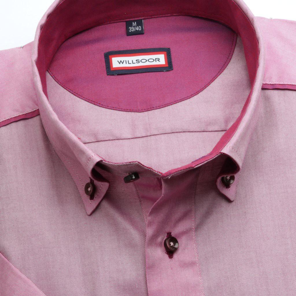 Wrzosowa taliowana koszula z kontrastami