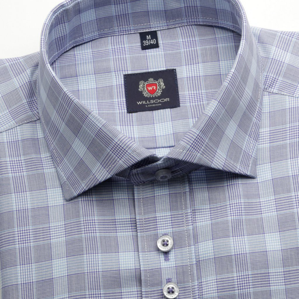 Błękitna taliowana koszula w pepitkę