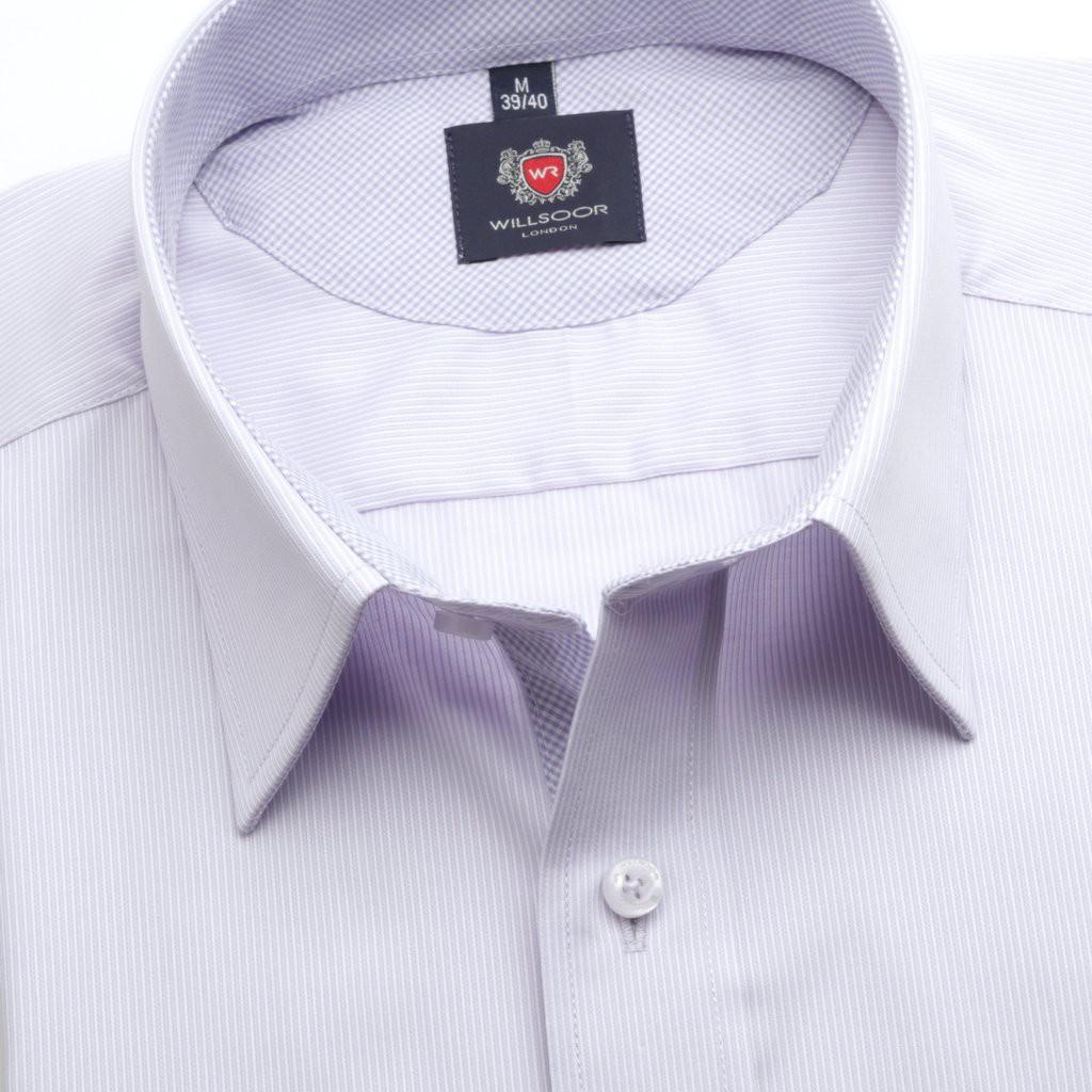 Jasnowrzosowa taliowana koszula w prążki
