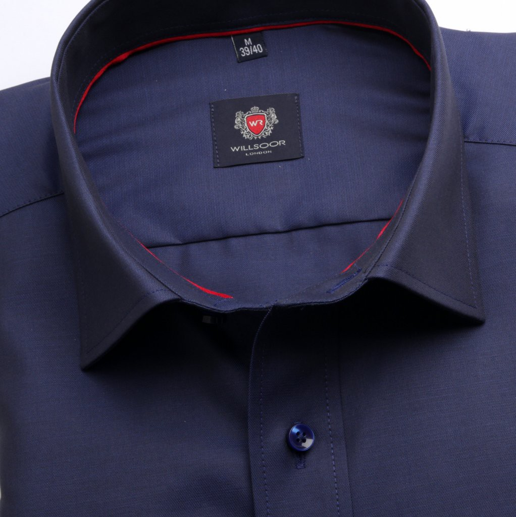 Ciemnogranatowa taliowana koszula