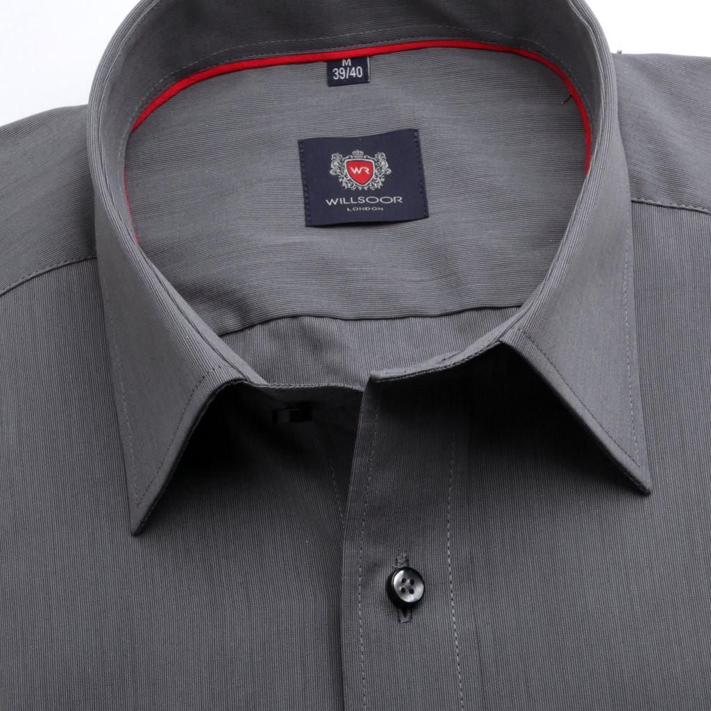 Grafitowa taliowana koszula w prążek