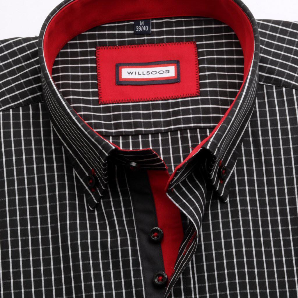 Czarna taliowana koszula w kratkę