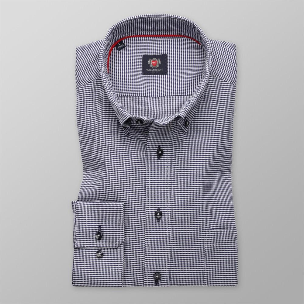 4f27c25f6b9666 Klasyczna koszula w granatowo-biały wzór