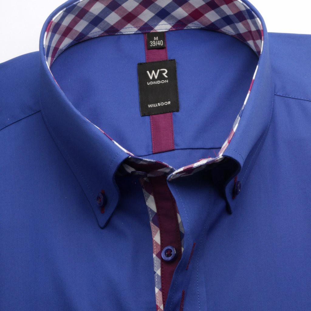 Modrakowa taliowana koszula