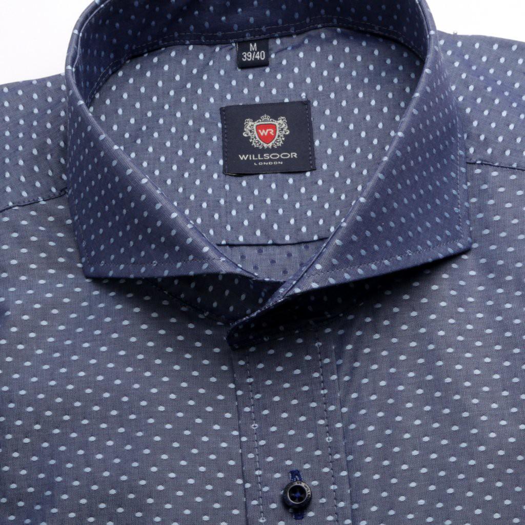Granatowa taliowana koszula w kropki