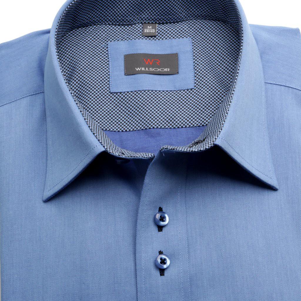 Niebieska klasyczna koszula z kontrastami