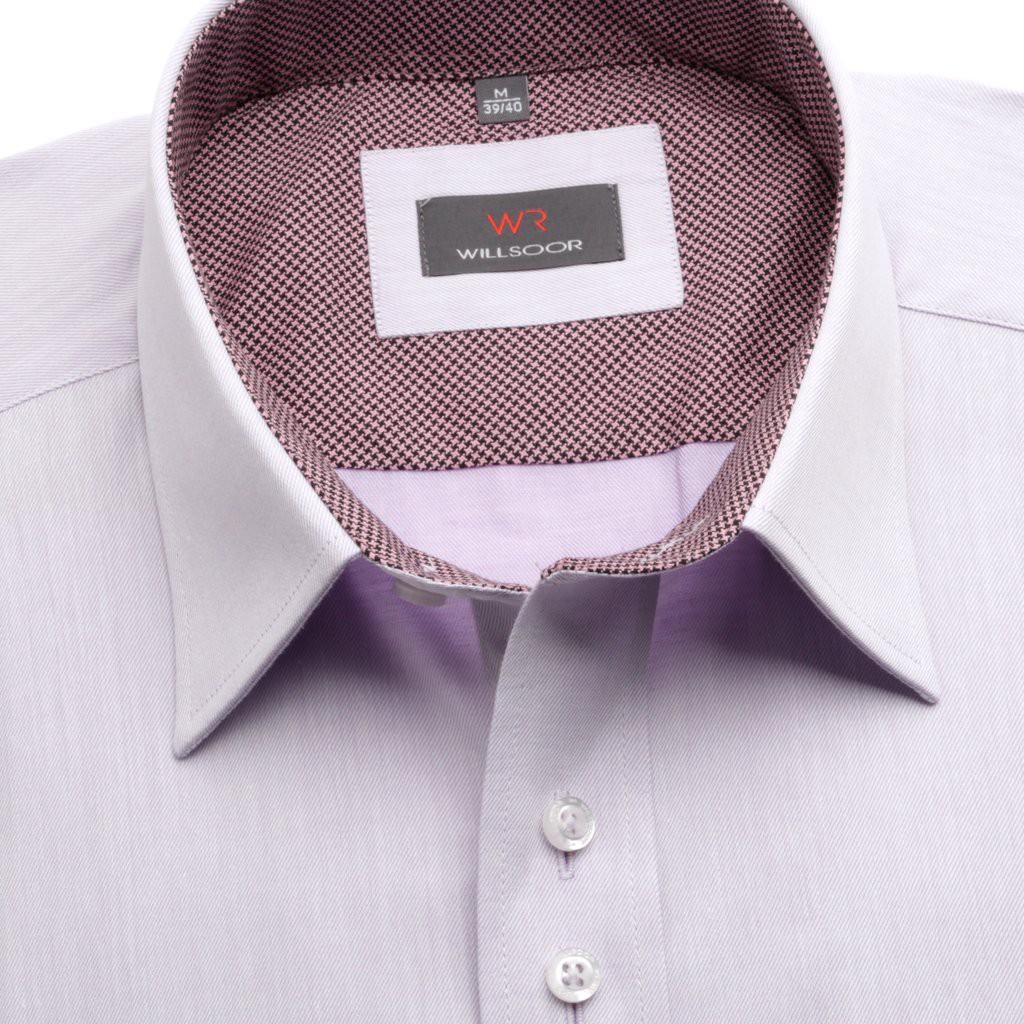 Jasnowrzosowa klasyczna koszula z kontrastami