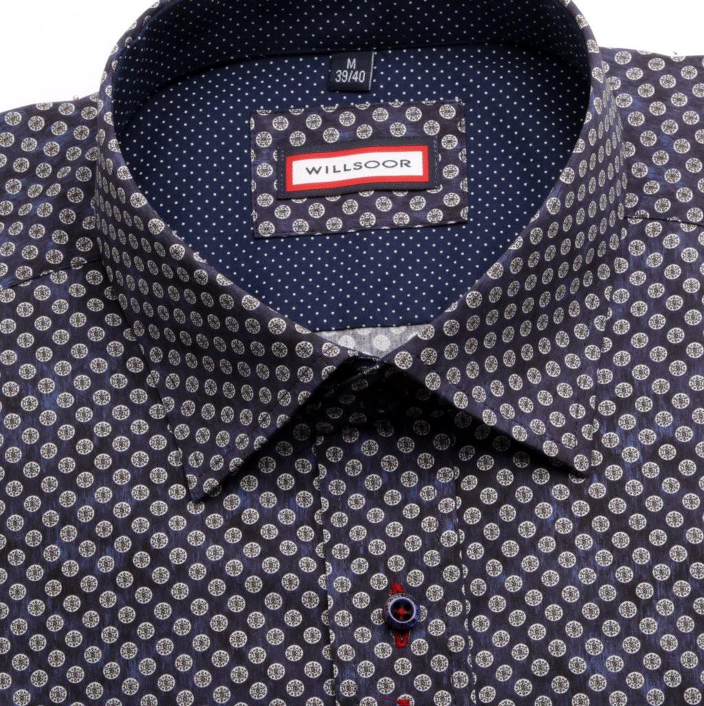 Granatowa taliowana koszula w grochy