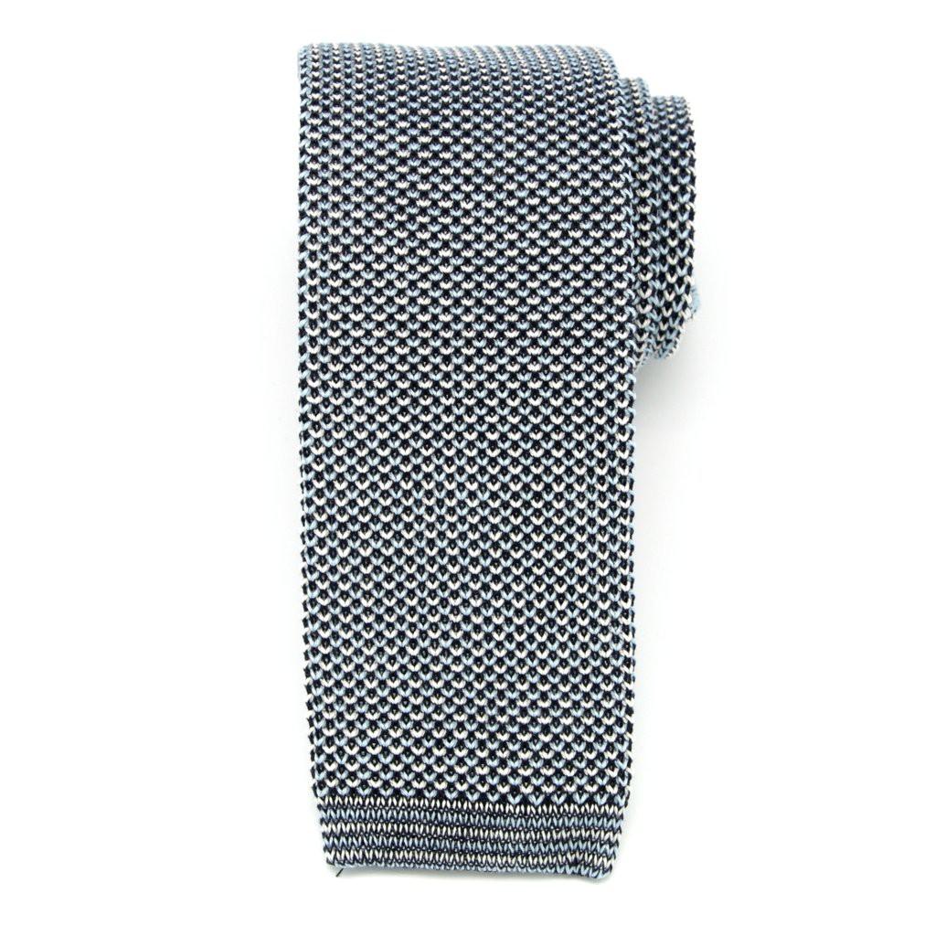 Niebiesko-czarny tkany krawat