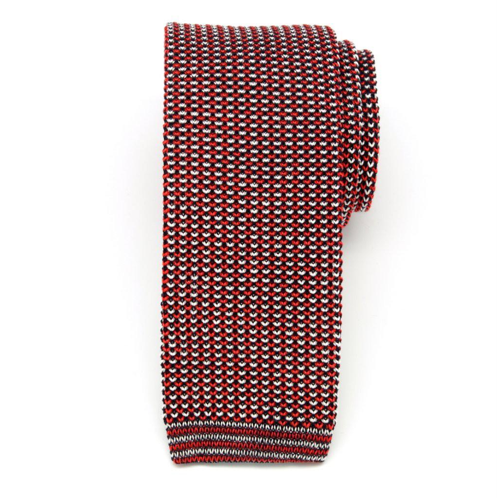 Czerwono-czarny tkany krawat
