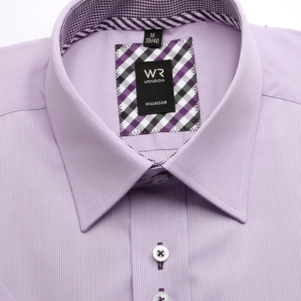 Wrzosowa klasyczna koszula w prążki