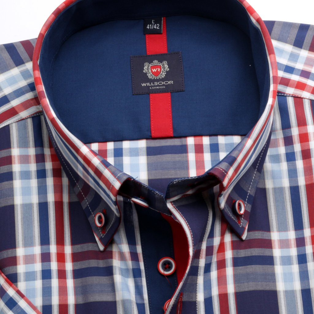 Granatowa taliowana koszula w kratę