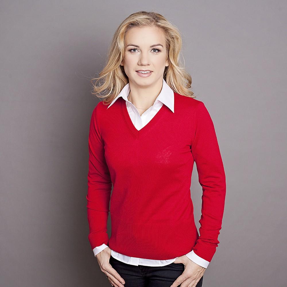 Czerwony sweter damski szpic