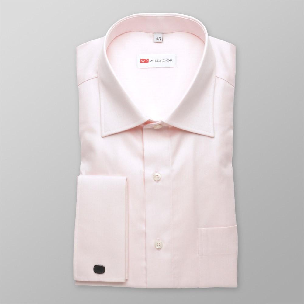 Klasyczna jasnoróżowa koszula na spinki