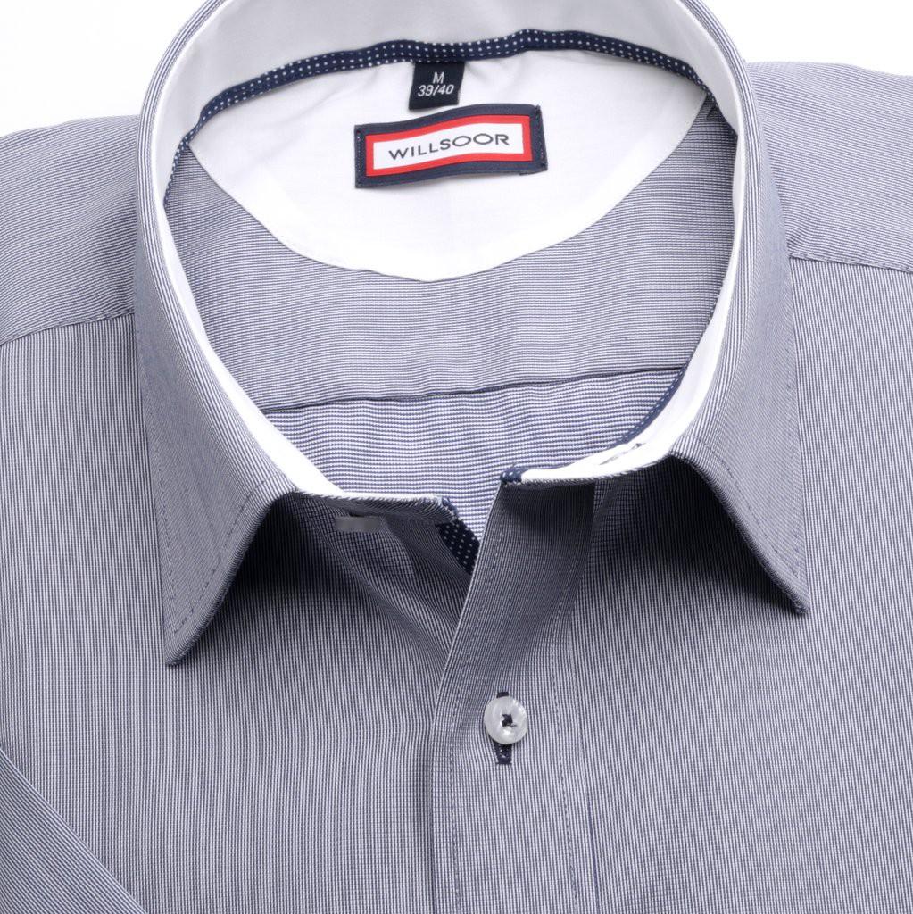 Popielata taliowana koszula w prążki