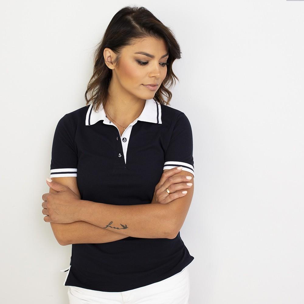 Granatowa koszulka polo z białymi kontrastami