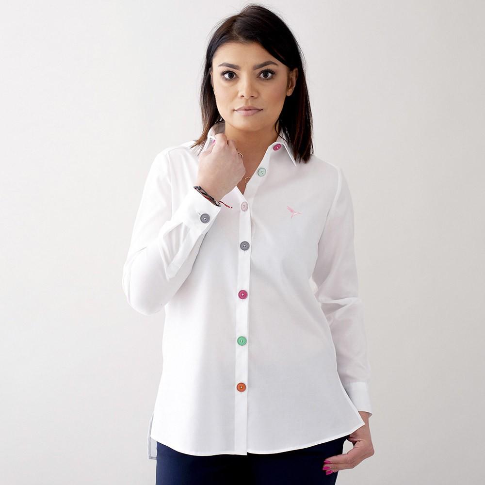 Biała bluzka z dużymi kolorowymi guzikami Koszule i bluzki  FXPgS
