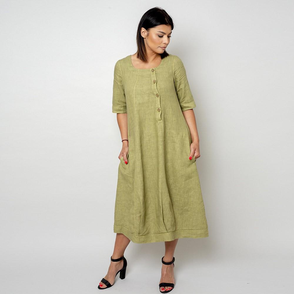 Długa oliwkowa sukienka lniana