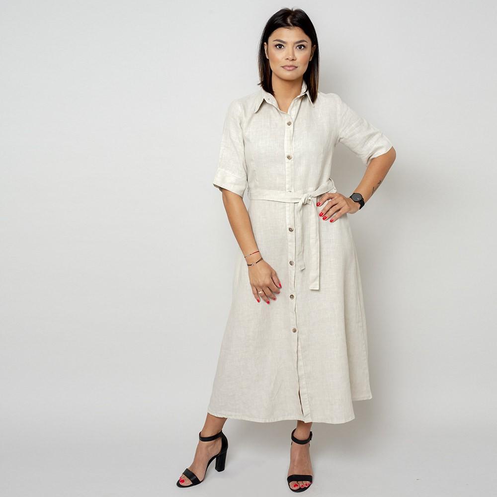 Długa beżowa sukienka lniana