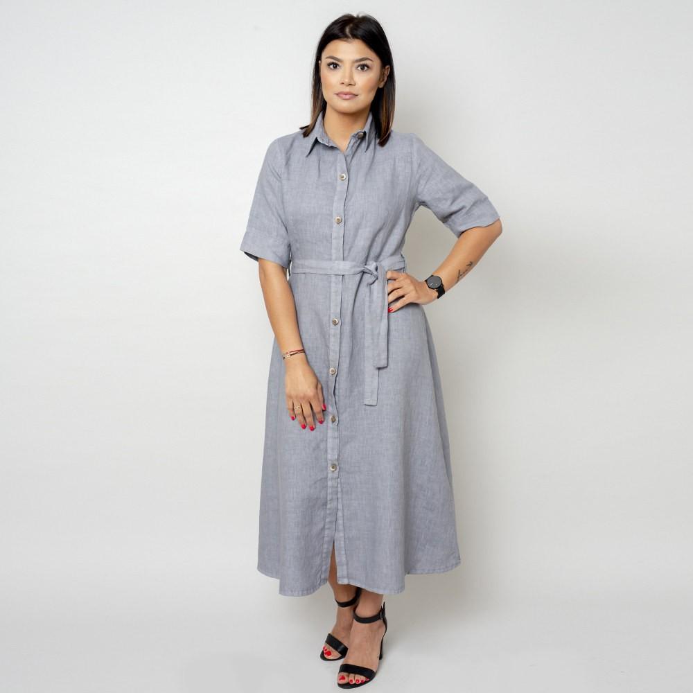 Długa szara sukienka lniana