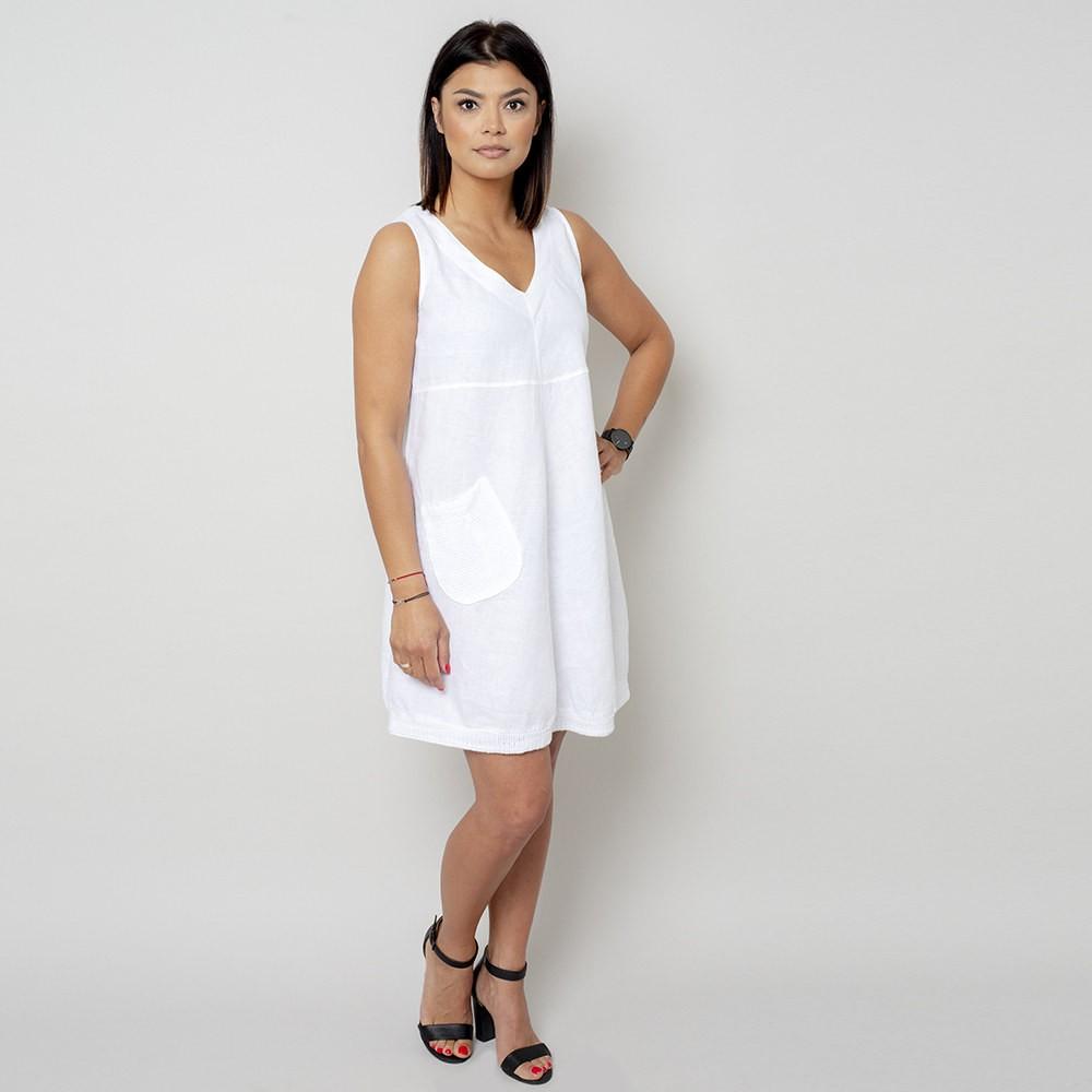 3ec02f8c8c0f63 Krótka biała sukienka lniana