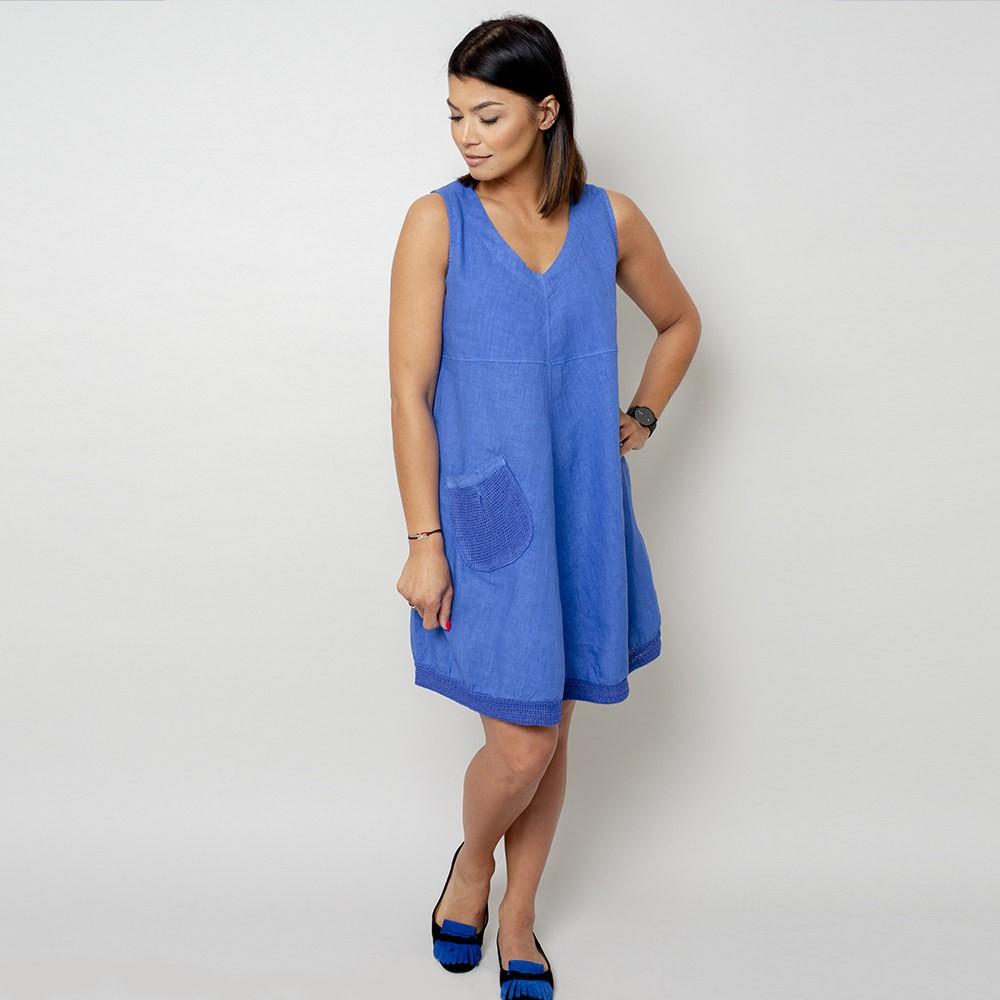 Krótka szafirowa sukienka lniana