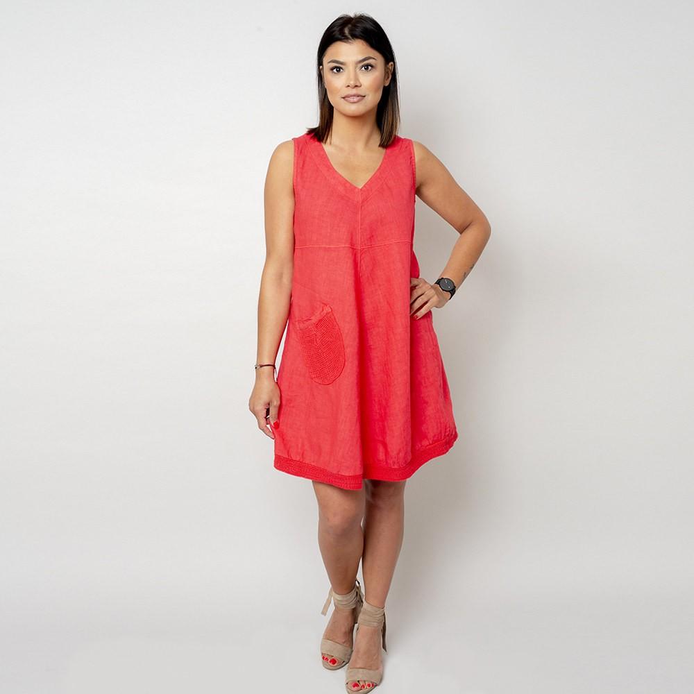 Krótka koralowa sukienka lniana
