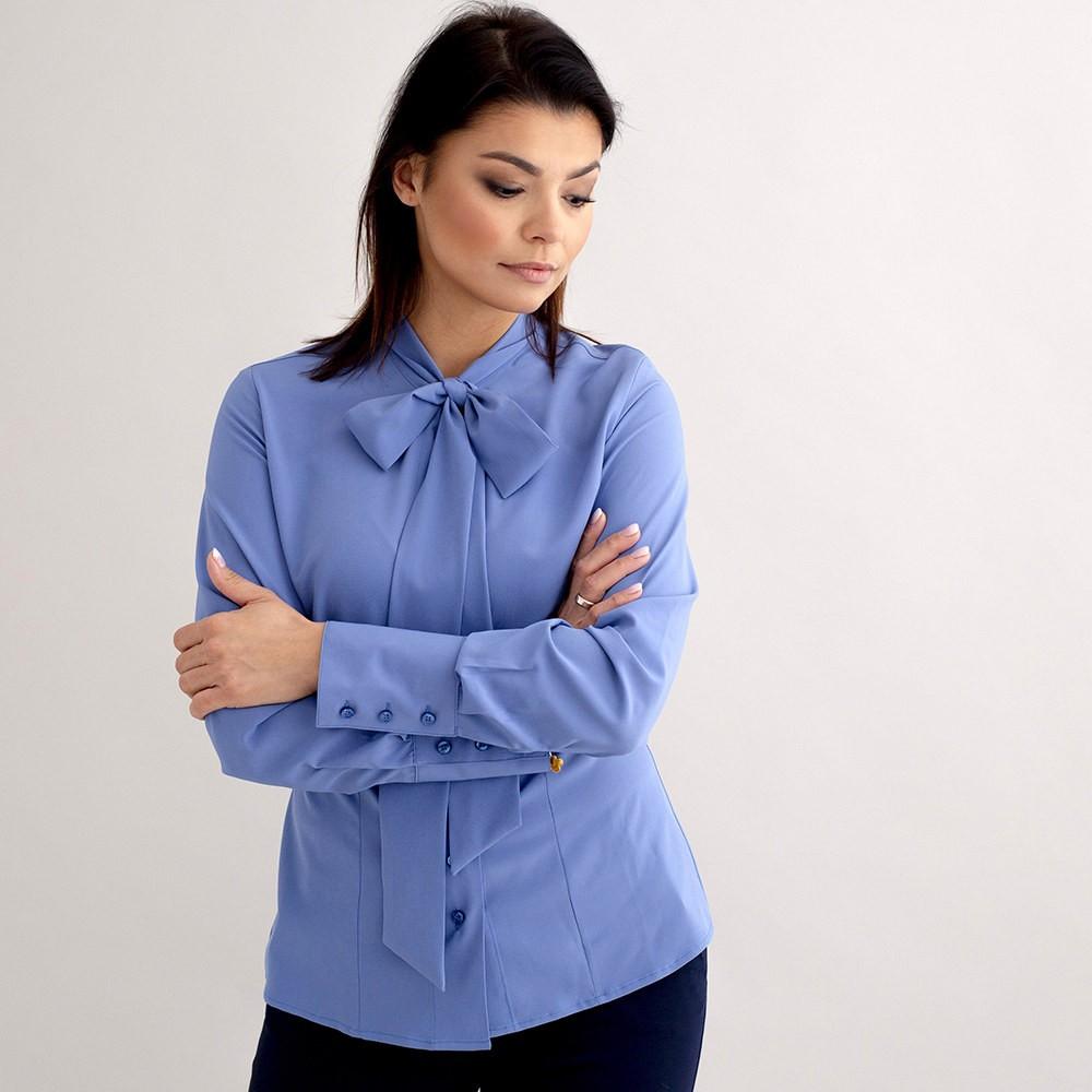 Błękitna bluzka damska z kokardą