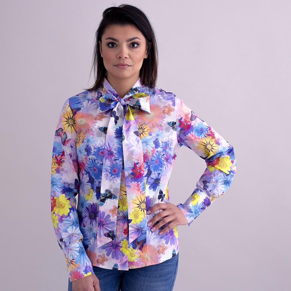 Bluzka w duże kolorowe kwiaty z kokardą