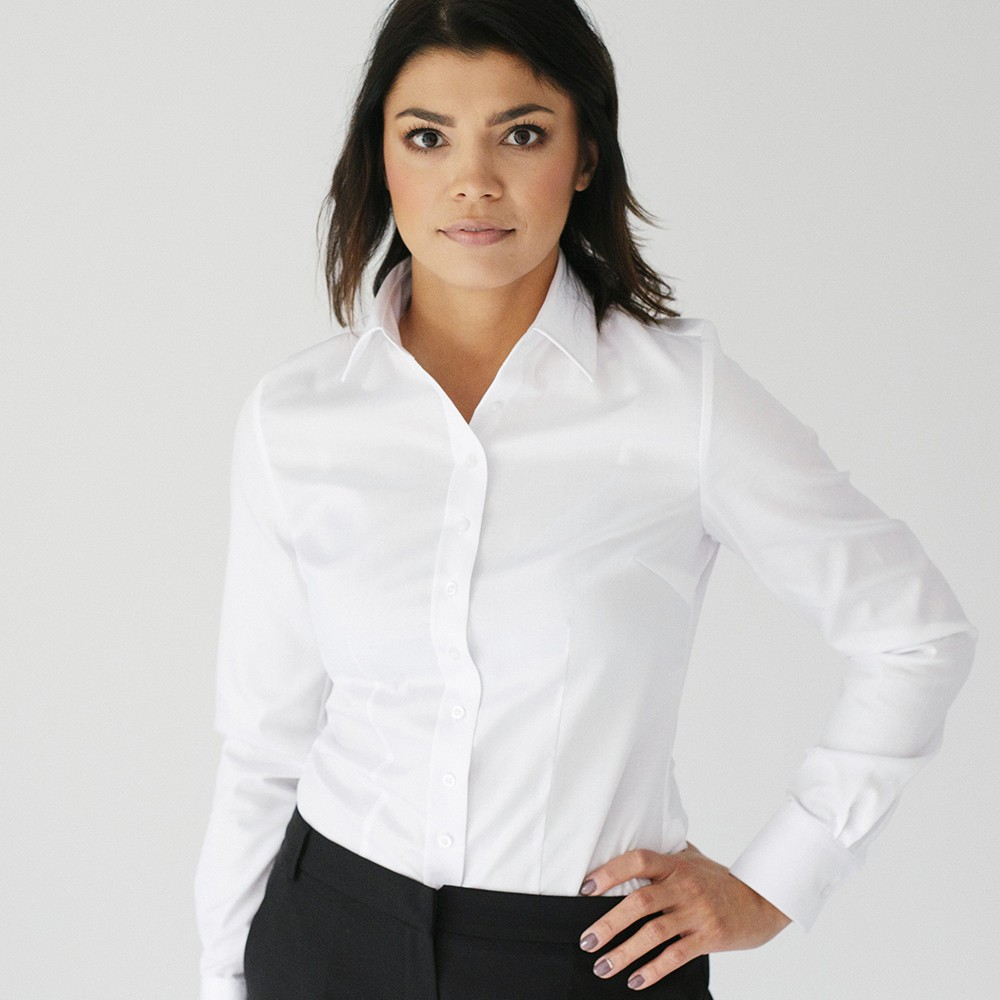Klasyczna biała bluzka z kołnierzykiem KENT