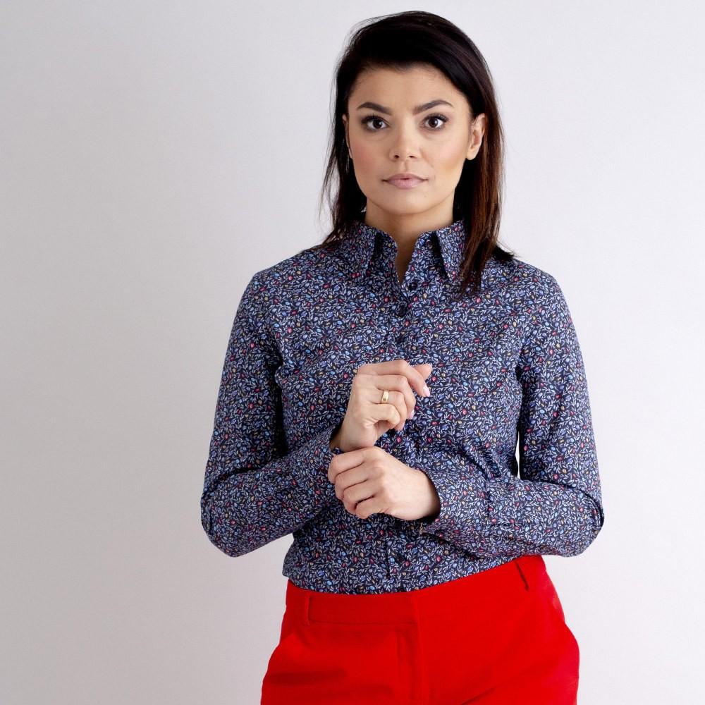 Granatowa bluzka w drobne kwieciste wzory