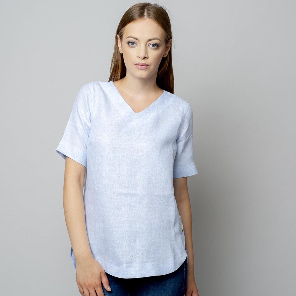 Błękitna bluzka lniana oversize z krótkim rękawem